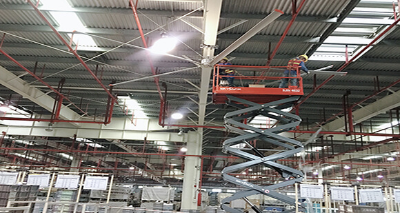 Servo direct drive HVLS fans installed in Guangzhou Automobile Group Motor CO.,LTD